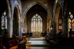 St Mary's altar (G. Postlethwaite esq.) Tags: derbyshire stmaryschurch uk wirksworth altar arches bokeh depthoffield pews photoborder pillars selectivefocus stainedglass wondows