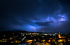Slovenia (Bukshee) Tags: lightning city night sky moon dusk dark travel architecture outdoors nature storm thunderstorm weather horizontal colorimage lowkey longexposure nopeople lightnaturalphenomenon builtstructure buildingexterior color image low key long exposure no people light natural phenomenon
