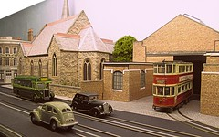 Let there be light..... (kingsway john) Tags: londontransportmodel layout church sjc 176 scale oo gauge tram tramway t aec green line coach kingsway models e1 tramcar tower model plastic kit