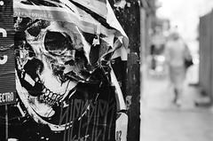 old posters (rafasmm) Tags: poland polska lodz łódź europe poster old bw blackwhite black white ilfordxp2super400 ilford xp2 super negativ film analog skull nikkor 50 18 afd nikkor50f18d nikonf90x nikon f90x outdoor bokeh streetphoto streetart streets off