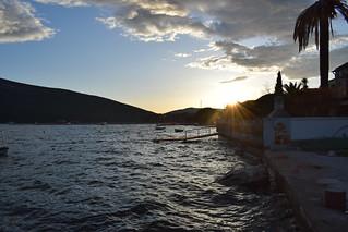 Beautiful sunset of Boka bay