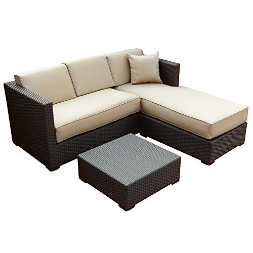 Abba Patio Furniture Set 3 Piece Outdoor Wicker Rattan Garden Sofa and Chaise Lounge Set with Cushioned Seat, Brown Review