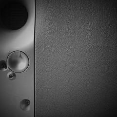 Negative Space: #9 (Explored #137, June 9, 2018) (DrCuervo) Tags: flickrexplored square blackandwhite monochrome simplybwapp iphone silver subwoofer speaker 30days negativespace 9