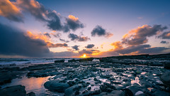 Liscannor at sunset - Clare, Ireland - Seascape photography (Giuseppe Milo (www.pixael.com)) Tags: a7 blu clouds europe fullframe geotagged ireland landscape light longexposure motion orange photo photography rocks sea seascape sky sonya7 sonyfe1635 sunset travel ultrawide water onsale