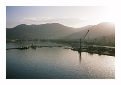 Farewell - La Spezia (magnus.joensson) Tags: italy la spezia color april sailing the mediterranean contax t3 carl zeiss sonnar 35mm kodak porta 400 c41 sunset
