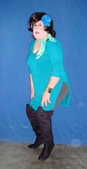 Aqua Tunic with OTK Boots (annad20061) Tags: brunette scarf sissy attitude girly
