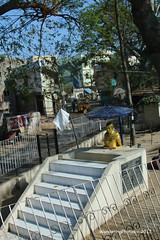 Fences around the small Gandhi memorial Statue - Pondicherry India (WanderingPJB) Tags: india pondicherry memorial gandhi fence