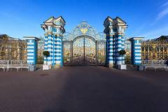 Gates of the Catherine Palace (fedoseenko) Tags: санктпетербург россия красота colour природа beauty blissful loveliness beautiful saintpetersburg sunny art shine dazzling light russia day green park peace garden blue white голубой небо лазурный color sky pretty sun пейзаж landscape clouds view heaven mood summer serene golden gold gate palace дворец colours picture exhibition pavilion hall architecture building photographer фотограф catherine catherinepalace flickrfriday classic