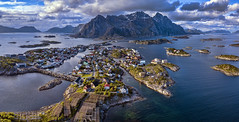 Aerial Henningsvaer (wimvandemeerendonk) Tags: lofoten henningsvaer norway nature aerial drone blue clouds cloud landscape mountain mountainscape outdoors outdoor panorama reflection rock rocks ripples sony sky wimvandem water sea ocean djimavicpro abigfave greatphotographers simplysuperb
