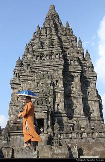 Prambanan Temple & Monk, Java, Indonesia