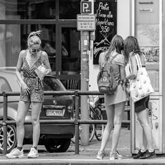 tram stop (every pixel counts) Tags: 2018 berlin prenzlauerberg capital city tramstop day everypixelcounts blackandwhite eu 11 girl bw people street sunglasses food talk daylight berlinalive blond blackwhite backpack spring germany sign car woman sneaker sun platform
