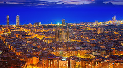 Cityscape of Barcelona city (anekphoto) Tags: barcelona night skyline panorama spain city tourist catalonia travel panoramic architecture urban europe cityscape blue sea building tower view agbar mediterranean spanish sightseeing viewpoint sky hour water landscape aerial street tourism business office vacation horizontal high landmark european famous destination trip capital attraction skyscraper sight oval catalan sunset sagrada familia