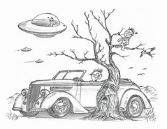 Wise Tree (rod1691) Tags: myart art sketchbook bw scfi grey concept custom car retro space hotrod drawing pencil h2 hb original story fantasy funny tale automotive illustration greyscale moonpies sketch sexy voodoo