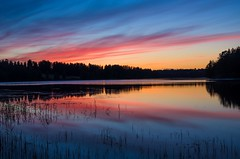 Sunset (Stefano Rugolo) Tags: stefanorugolo pentax k5 pentaxk5 smcpentaxda1855mmf3556alwr ricohimaging kitlens sunset water lakeside lake colors reflection silhouettes landscape nature trees reeds hälsingland sweden sverige