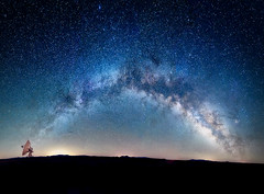 Panorama of the Milky Way over the Karl G. Jansky Very Large Array National Radio Astronomy Observatory in New Mexico (diana_robinson) Tags: verylargearray vla nationalradioastronomyobserv karlgjanskyverylargearray plainsofsanagustin datil remote noone telescopes array radiotelescopes newmexico nationalradioastronomyobservatory