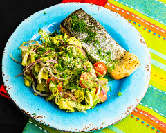 Monday dinner. Baked salmon and fennel salad. (garydlum) Tags: limezest avocado limejuice fennel oliveoil dill blackpeppercorns belconnen parsley iodisedsalt salmon redonion tomatoes springonions canberra cheese fetacheese australiancapitalterritory australia au