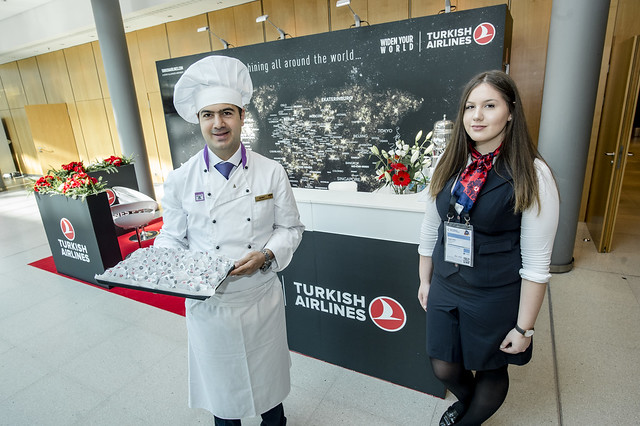 Mahmut Karacali and Tugce Civil presenting the Turkish Airlines stand