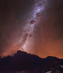 Coal Sack & Carina Nebulae - Stirling Ranges, Western Australia (inefekt69) Tags: stirling ranges bluffknoll panorama stitched mosaic milky way cosmology southernhemisphere cosmos southern westernaustralia australia dslr longexposure rural nightphotography nikon stars astronomy space galaxy astrophotography outdoor milkyway ancient sky 35mm d5500 landscape nebula eta carinae carina coal sack tracked ioptron skytracker star tracking explore explored