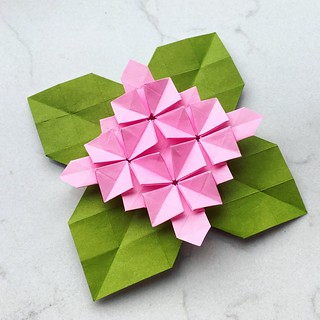 Origami hydrangea with leaves
