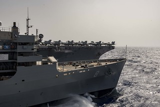 USS Harry S. Truman conducts a replenishment-at-sea with USNS Arctic.