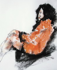 P1018232 (Gasheh) Tags: art painting drawing sketch portrait figure girl line pen color pastel charcoal gasheh 2018