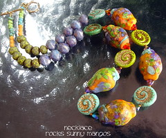 Necklace Rocks Sunny Mangos (Laura Blanck Openstudio) Tags: openstudio openstudiobeads murano glass jewelry handmade beaded lampwork beads fine arts art artisan artist made usa pendant colorful multicolor whimsical funky odd abstract asymmetric earthy organic one kind rocks nuggets pebbles stones contemporary urban bronce clasp artistic czech swarovski crystals necklace opaque matte etched frosted yellow sunny happy ocher maize mango orange coral green aqua blue turquoise frit copper lilac lavender grape purple violet plum tropical chartreuse golden