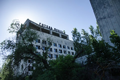 Pripyat (kiragulieva) Tags: pripyat ukraine chernobyl abandoned old town ghosttown gray nikond7000 nikon d7000 sun history ussr чернобыль припять trees hotel oldhotel beautiful sunset colorful outside
