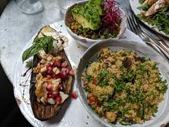 Eggplant with delicious salads (koukat) Tags: madrid viaje travel spain espana salads comida lunch almuerzo ensaladas vegetables verdura eggplant aubergine olivia te cuida cafe restaurant