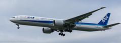 ANA 777-381 landing at London Heathrow (Alaskan Dude) Tags: travel europe england london londonheathrowairport heathrow myrtleavenue planespotting planewatching airplanes aviation jets airlines airliners