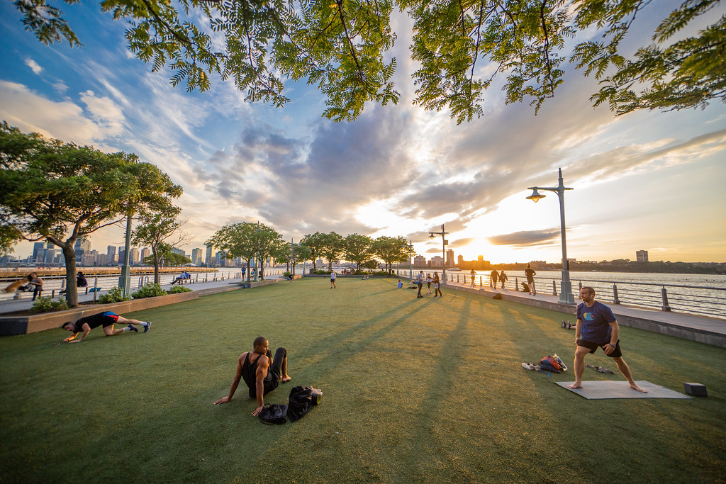 The Pier 46 turf at sunset in Greenwich Village along the Hudson in New York's West side.