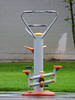 Workout 'Til You Puke (Steve Taylor (Photography)) Tags: grey green orange yellow black newzealand nz southisland canterbury christchurch hagleypark grass rain apparatus drips excercise equipment exercise gymnastic machine raining