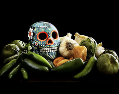 024693763414-101-Still Life Chilies and Shugar Skull-4 (Jim There's things half in shadow and in light) Tags: canon5dmarkiv jalepeno sugarskull tamronsp90mmf28dimacro11vcusd chilipepper food garlic havanero naturallight spice spicy stilllife tomatillo windowlight woodplate