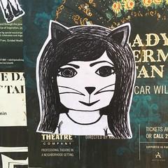 Cat 1 (evil robot 6) Tags: seattle postalley cat graffiti stickers streetart