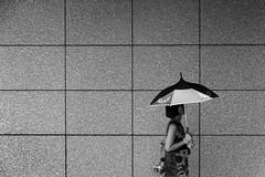 (cherco) Tags: woman walk walking umbrella paraguas square lines composition composicion japan japon sun blackandwhite blancoynegro monochrome mujer markiii moment solitario sombra scale arquitectura architecture canon city ciudad chica calle silhouette street solitary silueta wall asia 日本