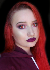 Red Eyed Demon 2 (Silje Roos) Tags: photography photo photos portrait photoshoot picture pretty photographys people pale red redhair redhead redlips purple makeup beauty model trend beautiful woman hotgirl hot girl