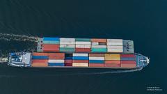 Container Barge (Peet de Rouw) Tags: binnenvaart riverbarge containers drone djimavicplatinum europoort rotterdam portofrotterdam calandkanaal