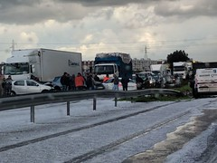 Hale storm, Highway between Casablanca and Rabat (Buster&Bubby) Tags: halestorm maroc rabat hale morocco casablanca