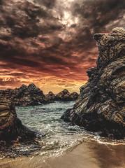 Dramatic Sunset (michaeldantesalazar) Tags: chile nature southamerica rocks sunset water ocean beach waves wave dramatic apocalypse sand beaches travel traveller travels sea pacific coast andes algorrobo