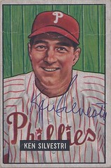 1951 Bowman - Ken Silvestri #256 (Catcher) (b. 3 May 1916 - d. 31 Mar 1992 at age 75) - Autographed Baseball Card (Philadelphia Phillies) (Treasures from the Past) Tags: 1951 bowman 1951bowman 1951bowmanbaseball baseball cards baseballcard vintage auto autograph graf graph graphed sign signed signature kensilvestri philadelphiaphillies catcher