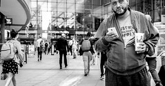 Big Man. Candid, Manchester (2 OF 10) (M.DStreets) Tags: amateur black white noir bw blackandwhite candid urban street manchester england monochrome people lumix gx7 mdstreets contrast expression travel face eyes stare piccadilly