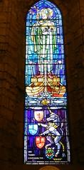 Stained Glass Window, Dornoch Cathedral, Dornoch, Sutherland, March 2018 (allanmaciver) Tags: dornoch cathedral sutherland church scotland bishop gilbert 1224 1238 chronicles bible verse colours detail nec tamen consumebatur consumed allanmaciver