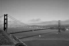 Golden Gate Bridge in San Francisco, CA. (sarahann.holaday) Tags: d810 nikon monochrome white black bay fog sailboat water goldengatebridge california sanfrancisco