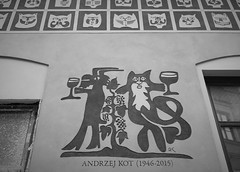 Andrzej the Cat (roomman) Tags: 2018 lublin city town weekend trip bw black white blackandwhite bandw style design contrast monochrome sign facade house andrzej teh cat kot mural paint painting animal