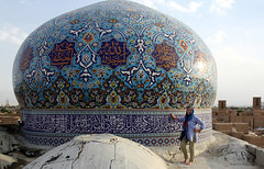 Iran, Me at the dome of a mosque at Yazd (Elena14u2012) Tags: persia iran mosque dome tiles yazd