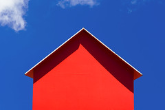Red-orange beach hut (Jan van der Wolf) Tags: map175194ve orange oranje beach beachhut strandhuisje beachcabins strand red rood sky clouds wolken summer zomer shadow schaduw shadowplay schaduwspel simple simpel minimal