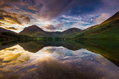 Buttermere dawn (snowyturner) Tags: buttermere lakedistrict keswick grange borrowdale reflections mountains fells clouds dawn sunrise trees nature