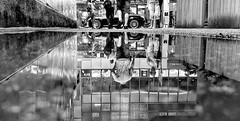 後 巷 (Wilson Au | 一期一会) Tags: alley monochrome blackandwhite hongkong reflection water kwuntong iphone 香港 觀塘 倒影 street streetphotography