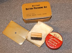WW-2 U.S. PX Purchase Button Polish Kit (Pacific Kilroy) Tags: ww2 wwii us army personal items collectibles artifacts memorabilia militaria worldwarii pacifictheater personalitems footlocker soldier marine combat relic antique kilroy uniform button polish kit box tin buttonpolishingkit dablightningbuttonpolish brush buff shine clean