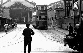 London transport E3 tram 1952 New Cross depot circa 1951.