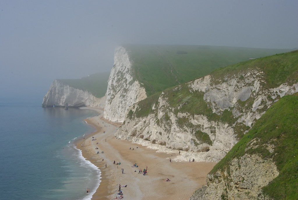 18-284  Looking west from above Durdle Door on a misty day